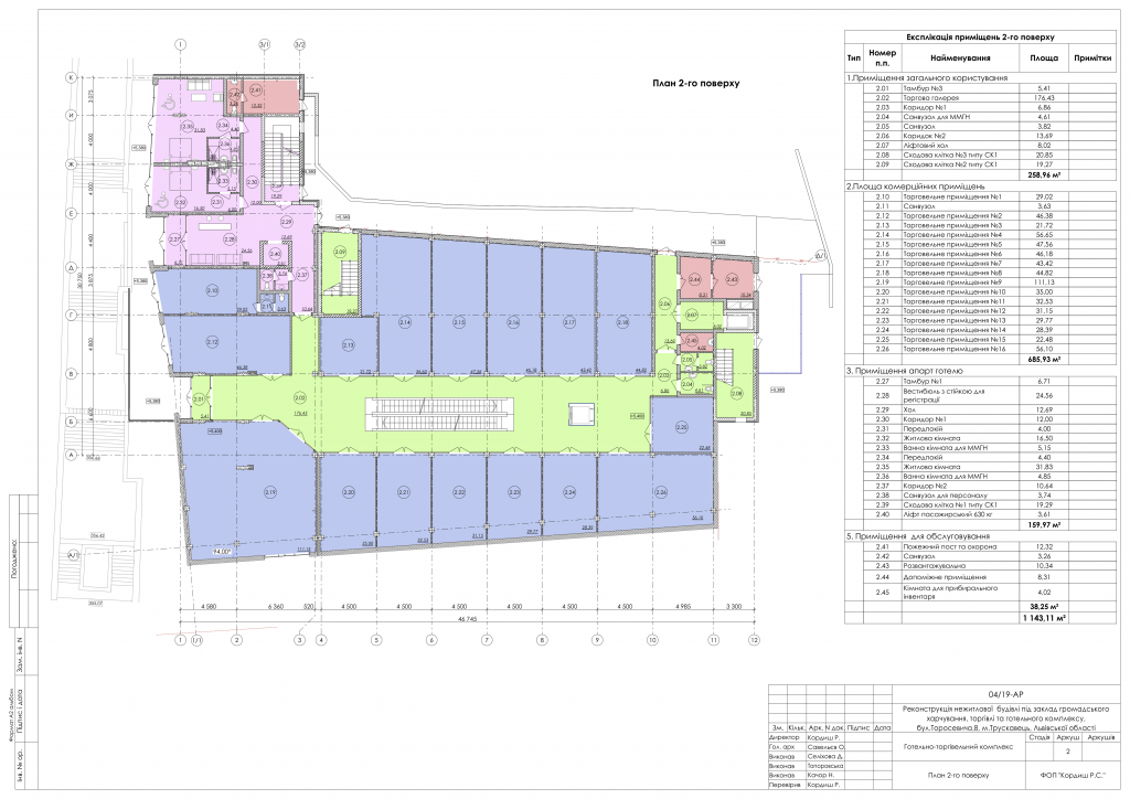 План другого поверху торгово-розважального готельного комплексу Парк у місті Трускавець